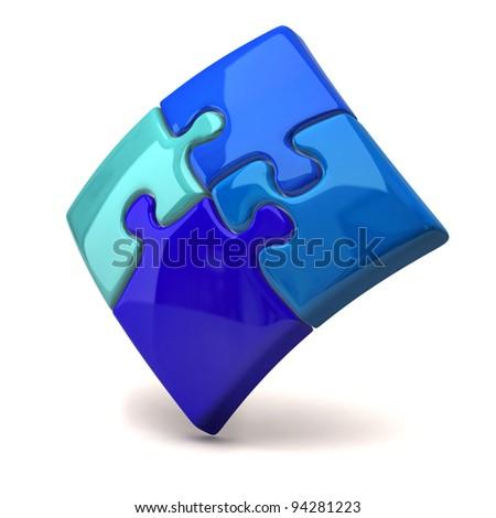Blue jigsaw puzzle on white background