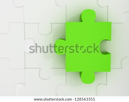 Blue jigsaw puzzle piece standing out with its dimension.