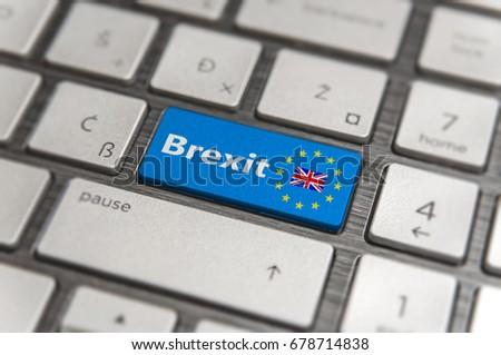 Blue key Enter United Kingdom Brexit with EU keyboard button on modern text communication board