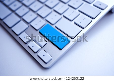 Blue Keyboard empty space free for the word