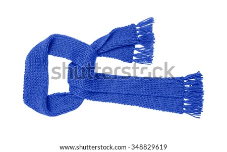Blue knitted scarf isolated on white background.