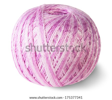 Blue knitting yarn clew isolated on white background