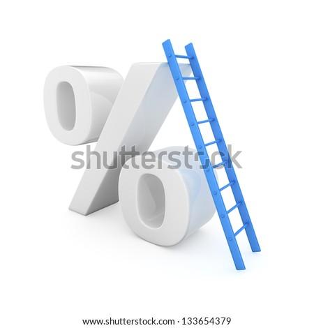 Blue ladder on the high percentage symbol