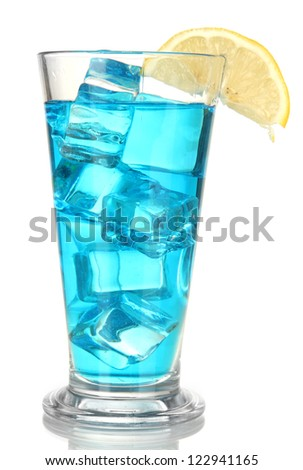 Blue Lagoon cocktail isolated on white