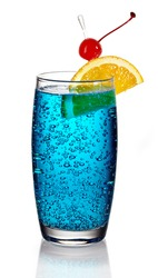 Blue lagoon cocktail on white background