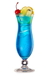 Blue Lagoon cocktail with a slice of lemon and cherry isolated on white