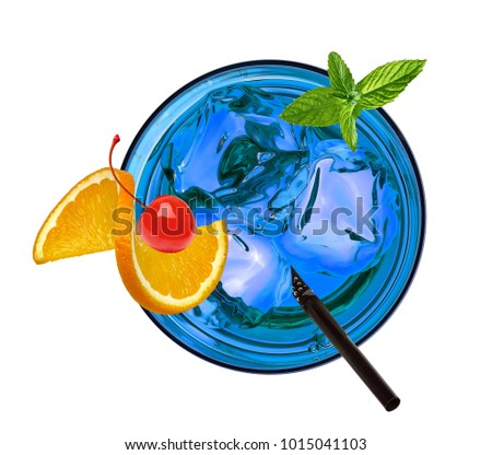 Blue lagoon cocktail with orange and maraschino cherry isolated on white background