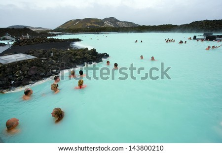 BLUE LAGOON ICELAND MAR 08 People bathing in The Blue Lagoon a geothermal bath resort in the south of Iceland a must see by tourists March 08 2013 in Iceland
