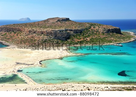 Blue lagoon in Ballos, Crete, Greece