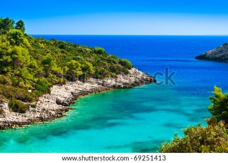 Blue lagoon, island paradise. Adriatic Sea of Croatia, Korcula, popular touristic destination.