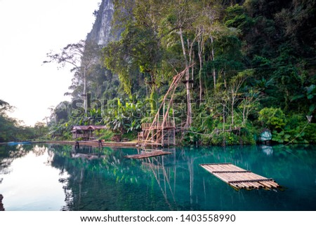 Blue lagoon number 3. Vang Vieng, Laos. Clear clear water in the lagoon.