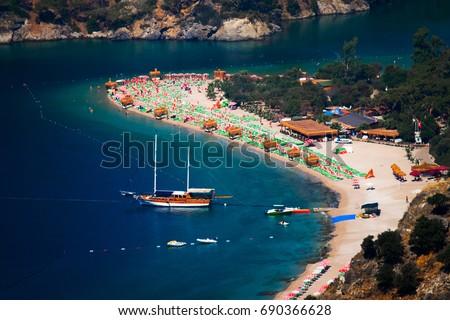 Blue lagoon of Oludeniz beach. Turkey