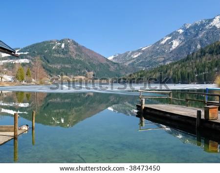Blue lake at the mountains of Austria
