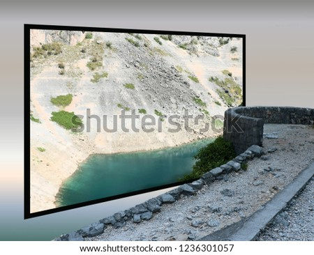 blue lake, Imotski, Croatia in out of bounds effect