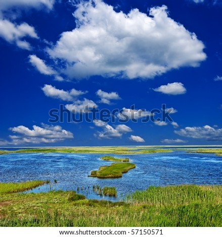 blue lake in a steppe at the summer