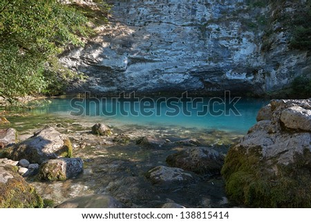 Blue Lake located in the mountains of Abkhazia #138815414