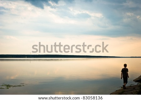 blue lake with cloudy sky, nature series