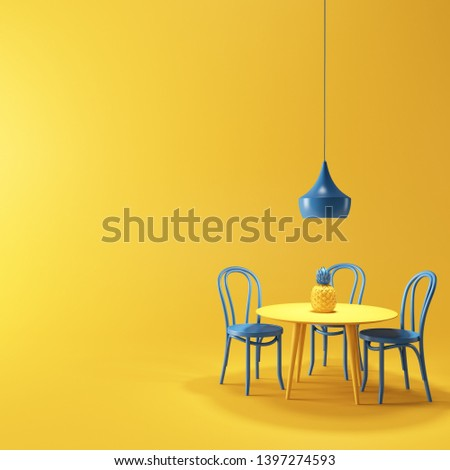 Blue lamp illuminates blue chairs, yellow table and yellow pineapple on yellow background 3d rendering