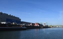 blue landscape of industry harbour with fabric buildings