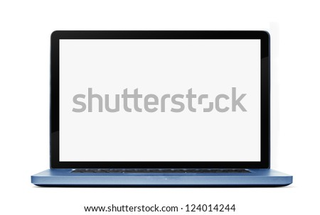 Blue Laptop isolated on white background. Clipping path included.