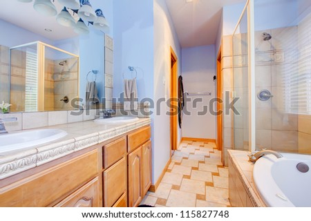 Blue large bathroom with tub and shower and wood cabinets.