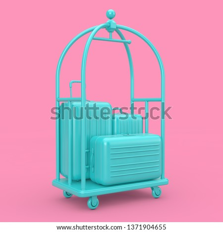 Blue Large Polycarbonate Suitcases in Blue Luxury Hotel Luggage Trolley Cart on a pink background. 3d Rendering