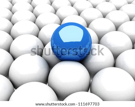Blue leader sphere standing out of white group