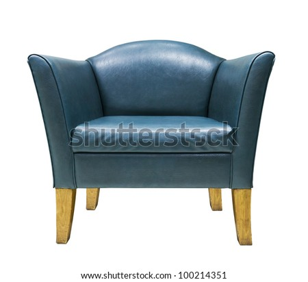 Blue leather armchair isolated on white background
