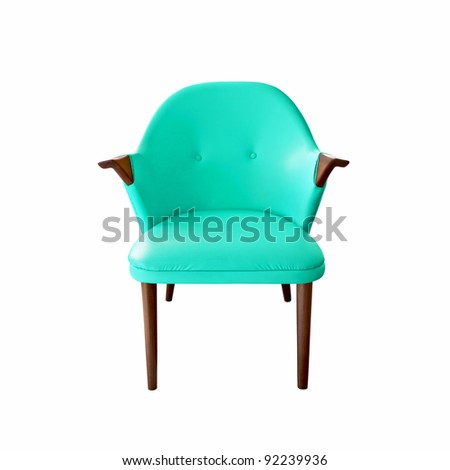 blue leather armchair on white background