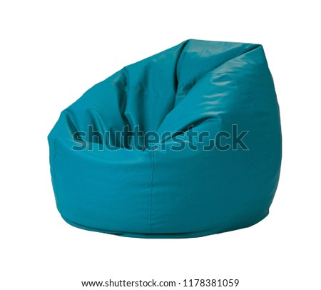 Blue leather bean bag isolated on white background with clipping path.