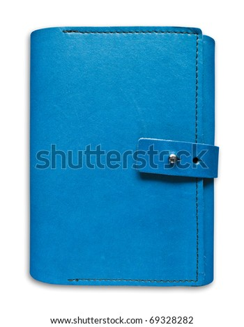 blue leather case notebook isolated on white background
