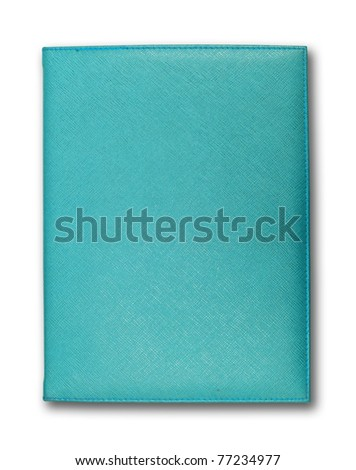 blue leather cover note book isolated on white background