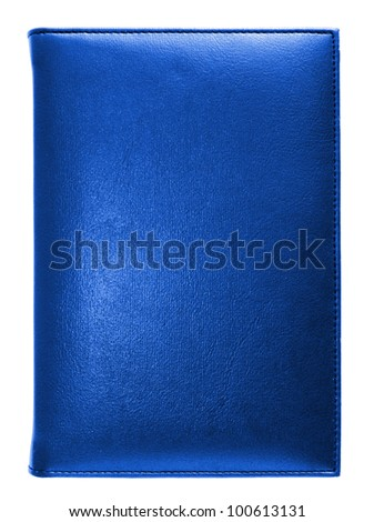 Blue leather note book isolated on white background