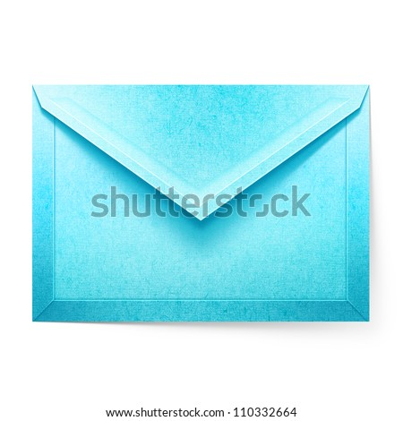 Blue letter envelope. Isolated paper cut illustration