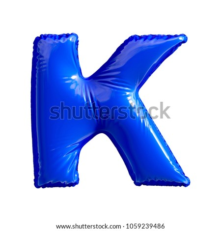 Blue letter K made of inflatable balloon isolated on white background. 3d rendering Stock fotó ©