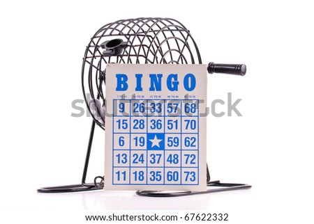 Blue Lettering Bingo Card with Bingo Ball Cage