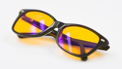 Blue light blocking glasses with yellow lenses and modern trendy style