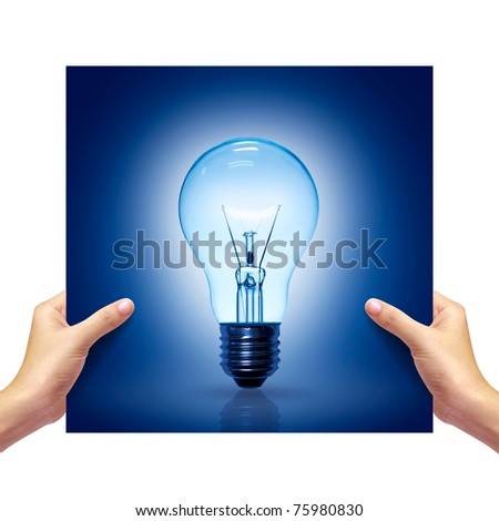 blue Light bulb picture in girl hand on white background.
