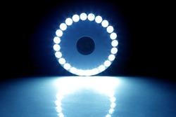 Blue Light Circle on the dark background