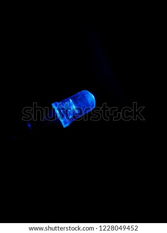 Blue light emitted from a LED with copy space