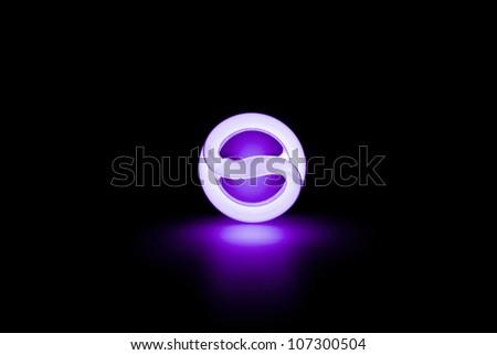 Blue light florescent bulb in the dark