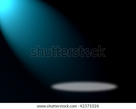 Blue light on black background. Space to insert product