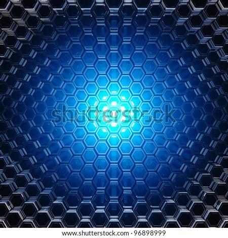 Blue light shining through metallic honeycomb tubes
