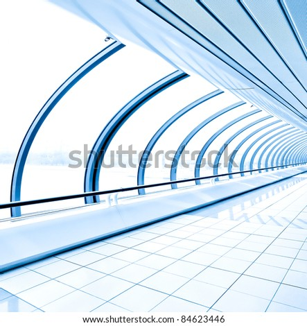 blue light transparent hallway