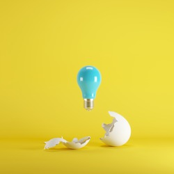 Blue lightbulb floating born from white Egg on yellow blackground. minimal idea concept.