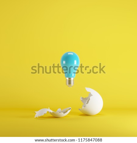 Blue lightbulb floating born from white Egg on yellow blackground. minimal idea concept. #1175847088