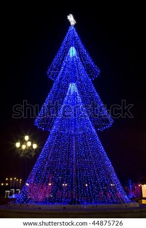 blue lighting  illumination of  holiday  decoration