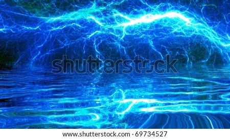 blue lightning reflected in water