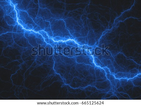 Blue lightning strike, electrical background