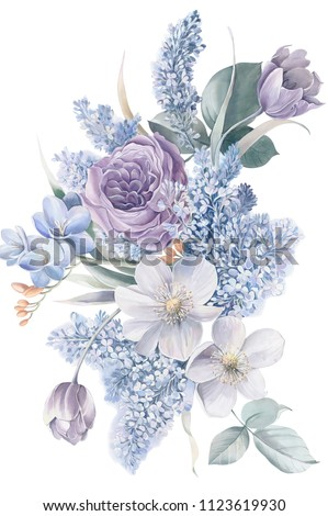 Blue lilac flowers, lilac tulips, elegant leaf watercolor natural performance techniques, the performance of natural flowers, light, soft flower clusters